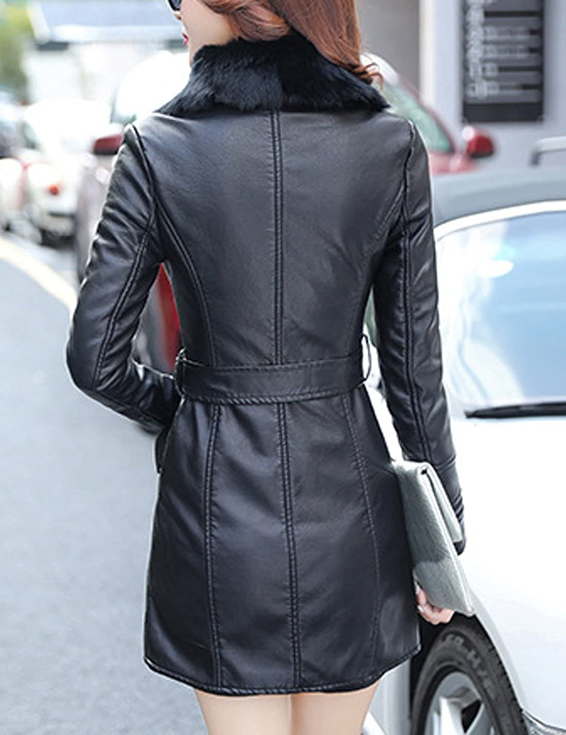 Tanming Womens Winter Warm Fur Collar Sherpa Lined Faux Leather Parka Coat Jacket