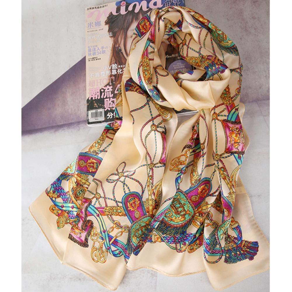 Beige Weiwei Ladies Silk Shawl Silk Scarf Slim Breathable Birthday Gift 53cm173cm