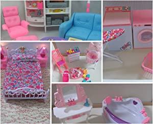 gloria Dollhouse Furniture for Barbie-sized dolls- 5 Sets Family Room Bathroom Baby Room Laundry Room Bedroom