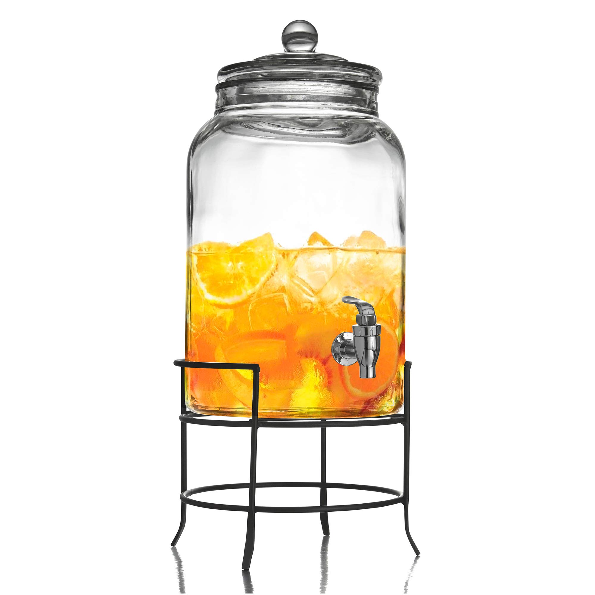 Style Setter Beverage Dispenser Cold Drink Dispenser w/ 2.75-Gallon Capacity Glass Jug, Metal Stand & Leak-Proof Acrylic Spigot Great for Parties, Weddings & More