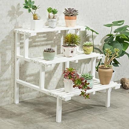 Amazon.com: Magshion – Estante de 3 niveles de madera blanca ...