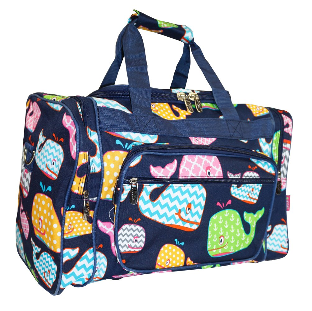 N. Gil Nautical Navy Whale Sea Summer Duffle Carry On Bags - 16-Inch