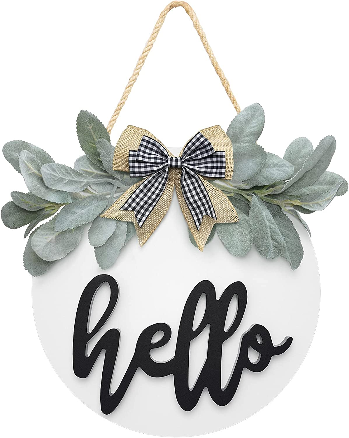 Welcome Hello Door Sign for Front Door Farmhouse Decor with Premium Greenery and Bow White-Wooden Hello Sign for Wreath Rustic Door Hanger, Housewarming for Front Porch Home Decor