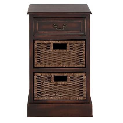Charmant Urban Designs 3 Drawer Wooden Storage Chest Night Stand With Wicker Baskets