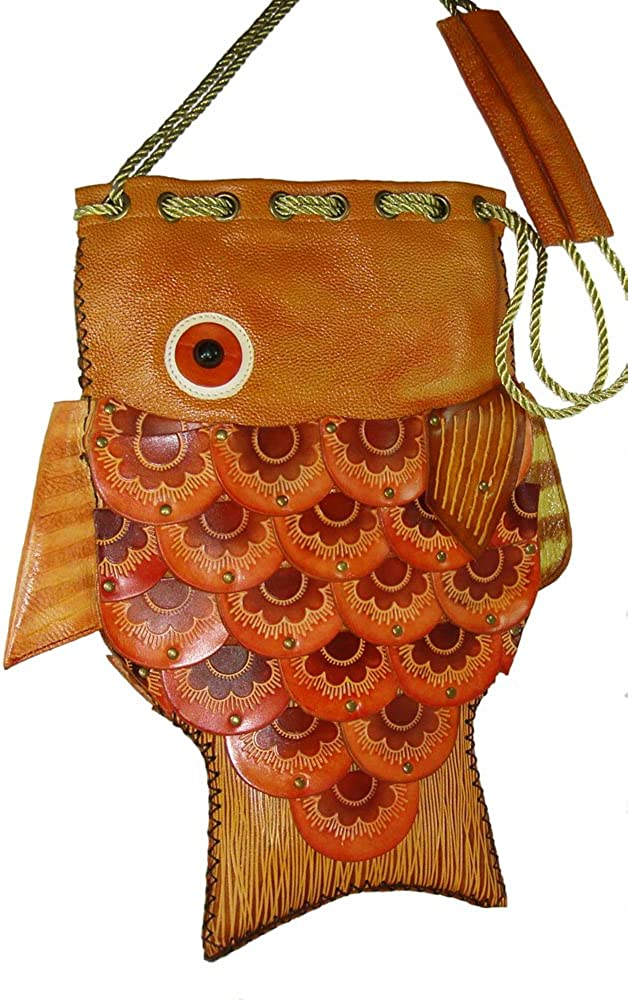 Handmade Leather Fish Pattern Shoulder Bag