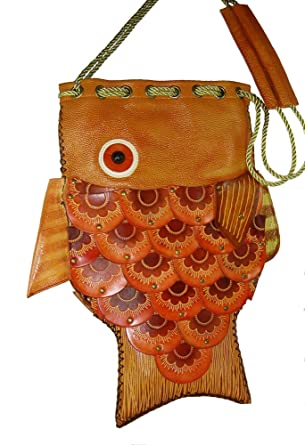 Amazon.com | Handmade Leather Fish Pattern Shoulder Bag, a Unique ...