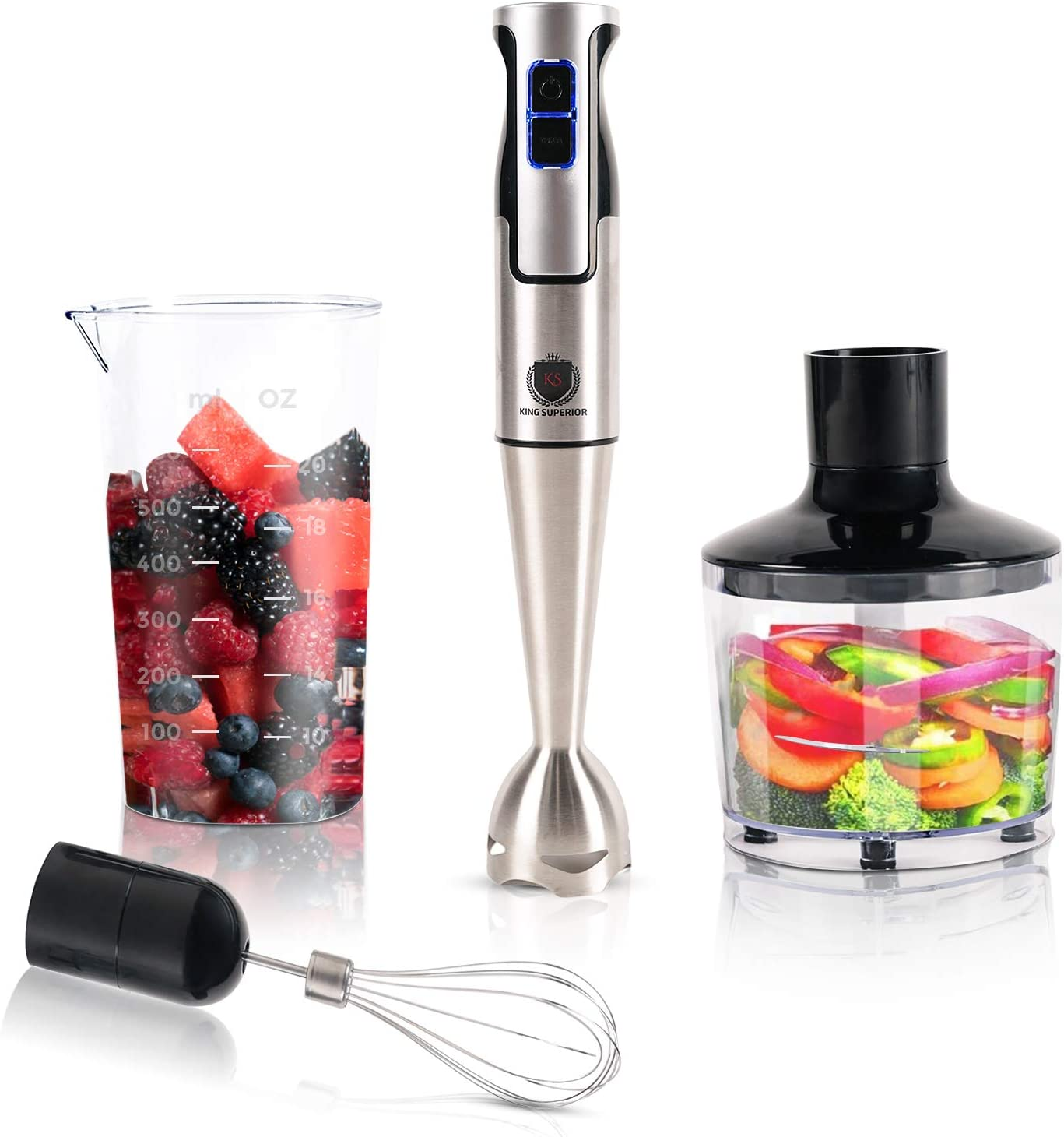 KING SUPERIOR Hand Immersion Blender, Powerful 500-Watt Motor, Stainless Steel Stick, 4-In-1 With 8 Speeds Plus TURBO, 2 Cup Food Processor, 2 1/2 Cup Beaker, BPA-Free