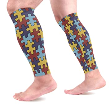534632a446 DERLONKAJE Autism Awareness Colorful Puzzle Piece Calf Compression Sleeves  1 Pair, Leg Performance Support for