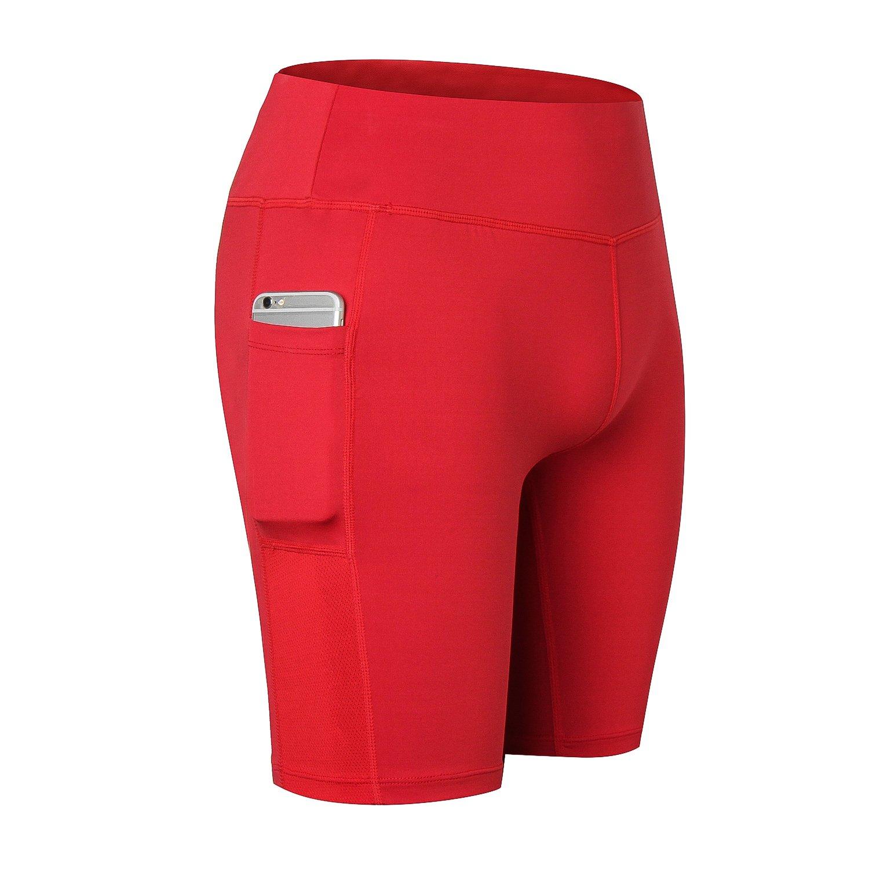 Beurlike Women's High Waist Yoga Shorts Tummy Control Running Pants Side Pockets
