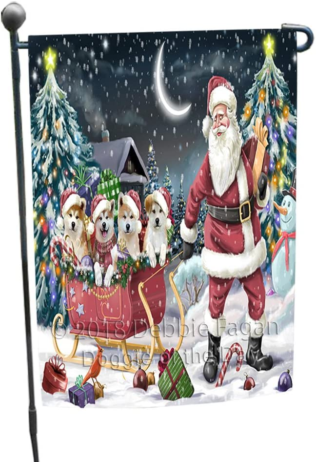 Santa Sled Dogs Christmas Happy Holidays Akitas Dog Garden Flag GFLG51707