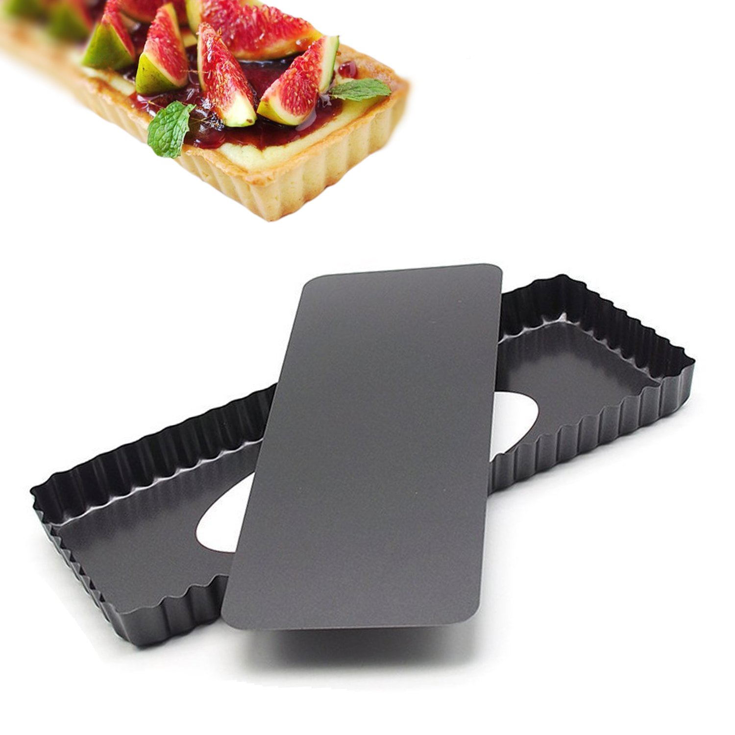 14.4 Inches Removable Loose Bottom Non-Stick Rectangle Tart Pan - 14.4'' x 5.9'' x 1.2'' by Vanly