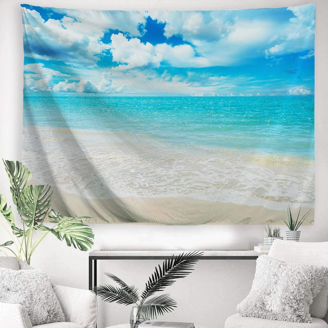 PROCIDA Home Tapestry Wall Hanging Nature Art Polyester Fabric Sea Beach Theme, Wall Decor For Dorm Room, Bedroom, Living Room, Nail Included – 90 W x 71 L 230cmx180cm – Light Blue Sea Water