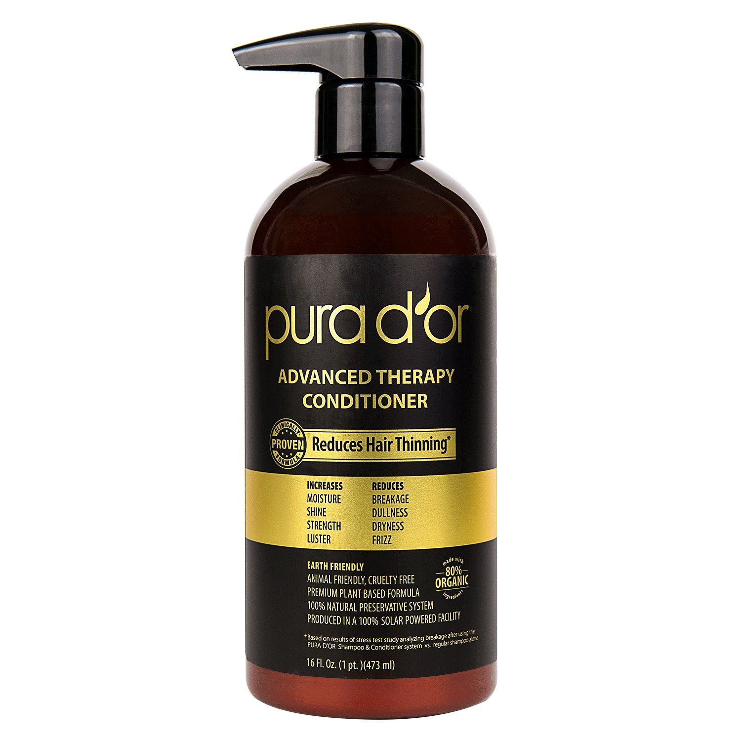 PURA D'OR Advanced Therapy Conditioner Increases Moisture and Strength, Infused with Premium Organic Argan Oil & Aloe Vera, 16 Fl Oz