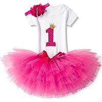 NNJXD Ragazza Shinny Stripe Bambina Senza Maniche/Tutu Manica Lunga Stampa/Vestito da Compleanno