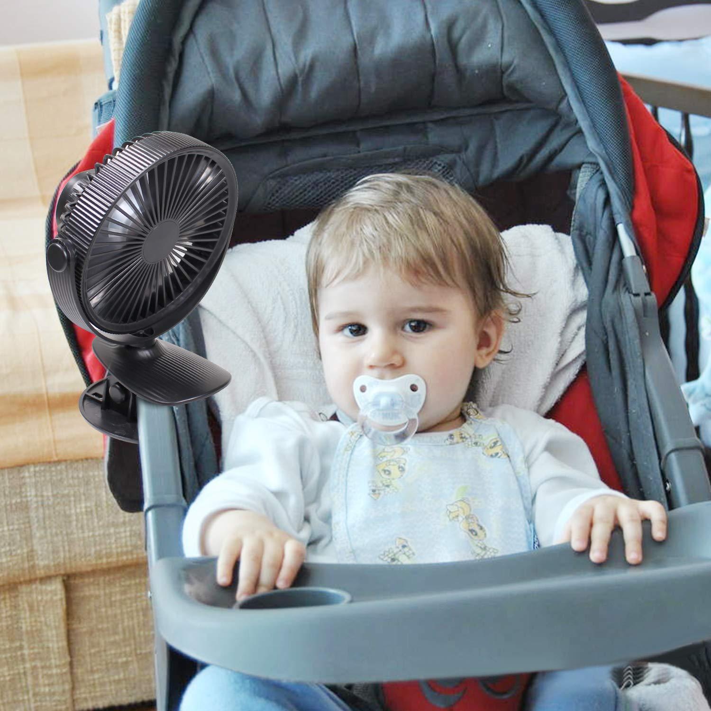 LATITOP Clip Bureau Ventilateur Mini Bureau Ventilateur Portable Batterie Rechargeable ou USB, Petit Ventilateur Personnel pour Bébé Poussette Voiture