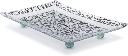 Florentino diseñado gris rectangular de cristal templado bandeja ...