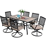 Sophia & William Outdoor Patio Dining Set 7 Pieces Metal Furniture Set, 6 x Swivel Chairs with 1 Rectangular Umbrella Wood Like Table for Outdoor Lawn Garden