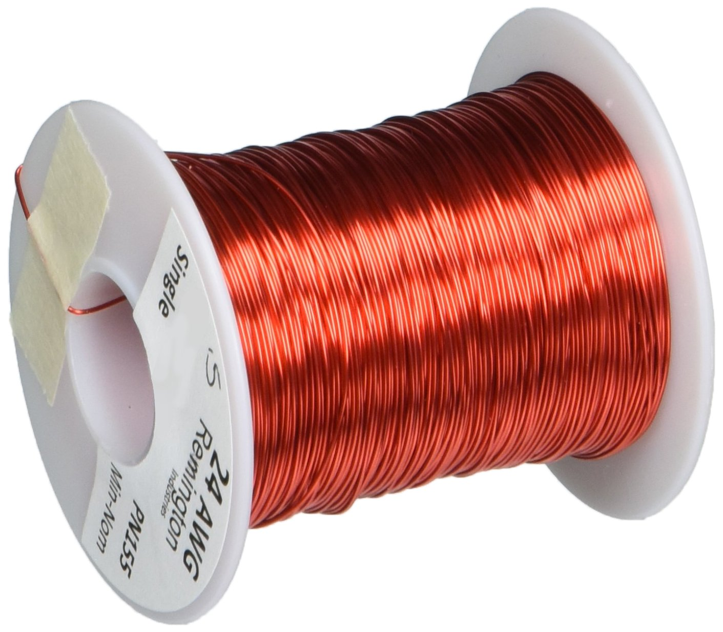 Remington Industries 24SNSP.5 Magnet Wire, Enameled Copper Wire, 24 AWG, 8 oz, 401' Length, 0.0221'' Diameter, Red