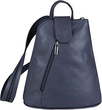 OBC Damen echt Leder Rucksack Schultertasche Stadtrucksack Backpack Handtasche Organizer Daypack Tablet bis ca. 8 Zoll Leder 22x23x12 Blau Navy
