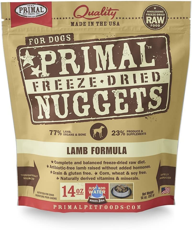 Primal Pet Food – Freeze Dried Dog Food 14-Ounce Bag with YHS Pet Food Bowl – Made in USA