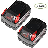 SISGAD 18V 5.0Ah Lithium-ion Replacement Battery for Milwaukee M18 48-11-1850 48-11-1852 48-11-1820 48-11-1828 48-11-10 XC Redlithium Cordless Tools Battery ( 2 Packs )