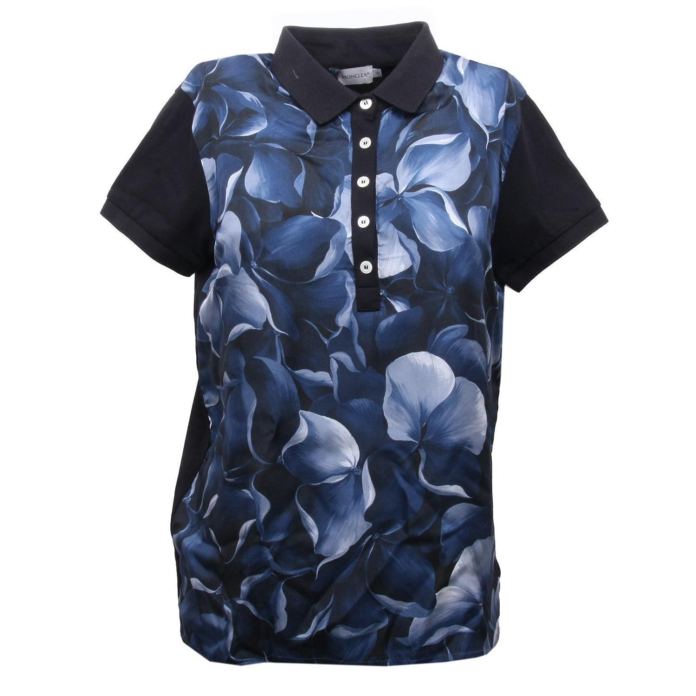 B5576 polo donna MONCLER maglia seta blu manica corta polo t-shirt ...