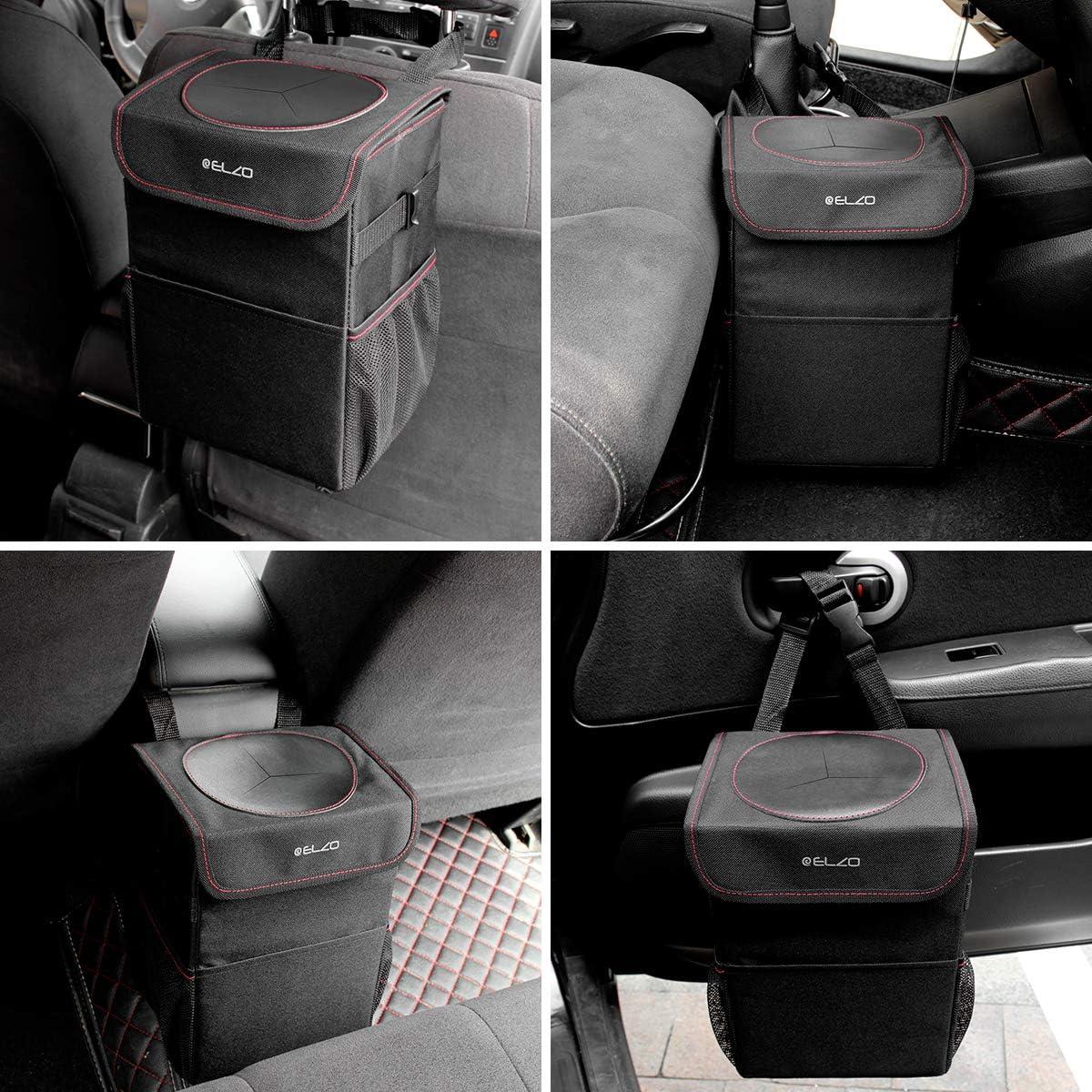 ELZO Poubelle de Voiture avec Couvercle et 3 Poches de Rangement /étanche Oxford Pliable Tissu Poubelle Automobile Noir pour Voyage et Camping