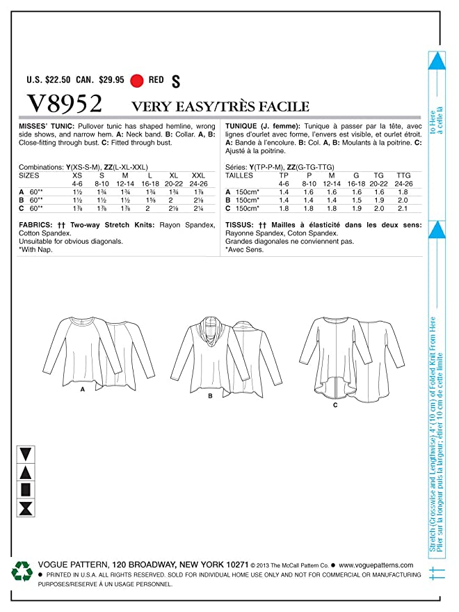 The McCall Pattern Company Vogue VGE 8952 ZZ - Patrones de costura ...