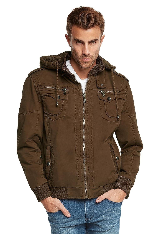 S。A。T。Men 's Sherpa Lined Saharaフード付きマルチポケットBomberジャケット B01KPG641W L|ブラウン ブラウン L