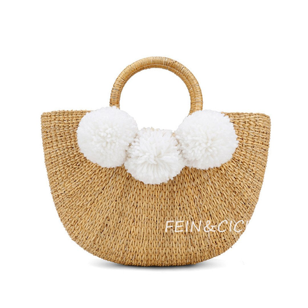 Beach Bag Straw Totes Bag Small Bucket Summer Bags with Pom Pom Women Handbag Braided Rattan Bag