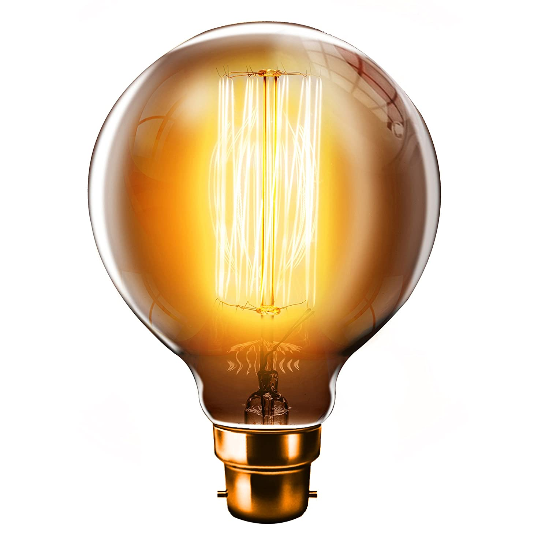Oversize Long-Life Premium Edison Light Bulb 40W B22 BC Bayonet Cap 2-Pack