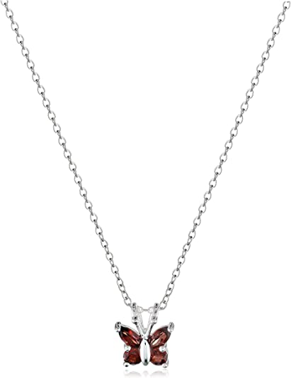"""Sterling Silver Gemstone Butterfly Pendant Necklace 18/"""""""