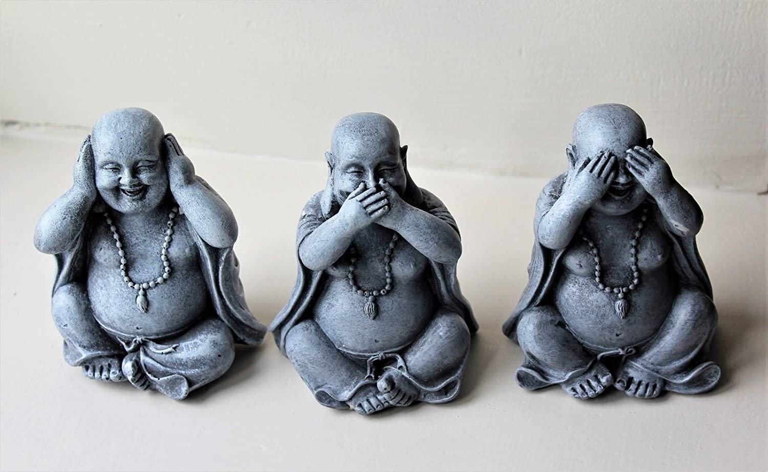 3 WISE HAPPY BUDDHA ORNAMENTS DECOR,HEAR NO, SEE NO, SPEAK NO EVIL (Large) Home and Garden Products Ltd