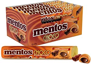 Mentos Choco Roll Caramel, Indulgent Caramel with Chocolate Filling, 12 x 38g