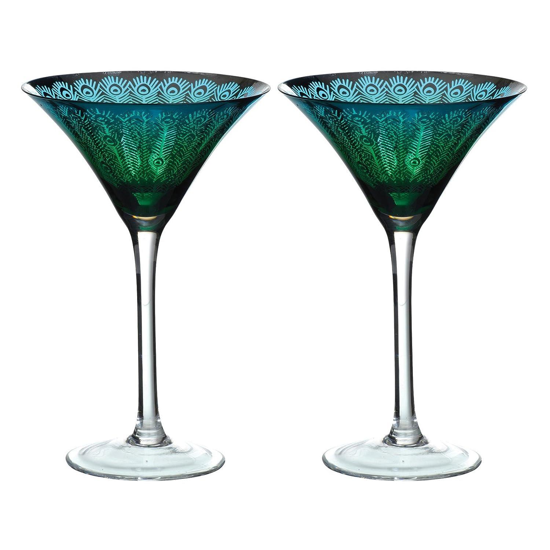 Artland Peacock Martini Glass, Set of 2, Multi-Colour ART51182PK2