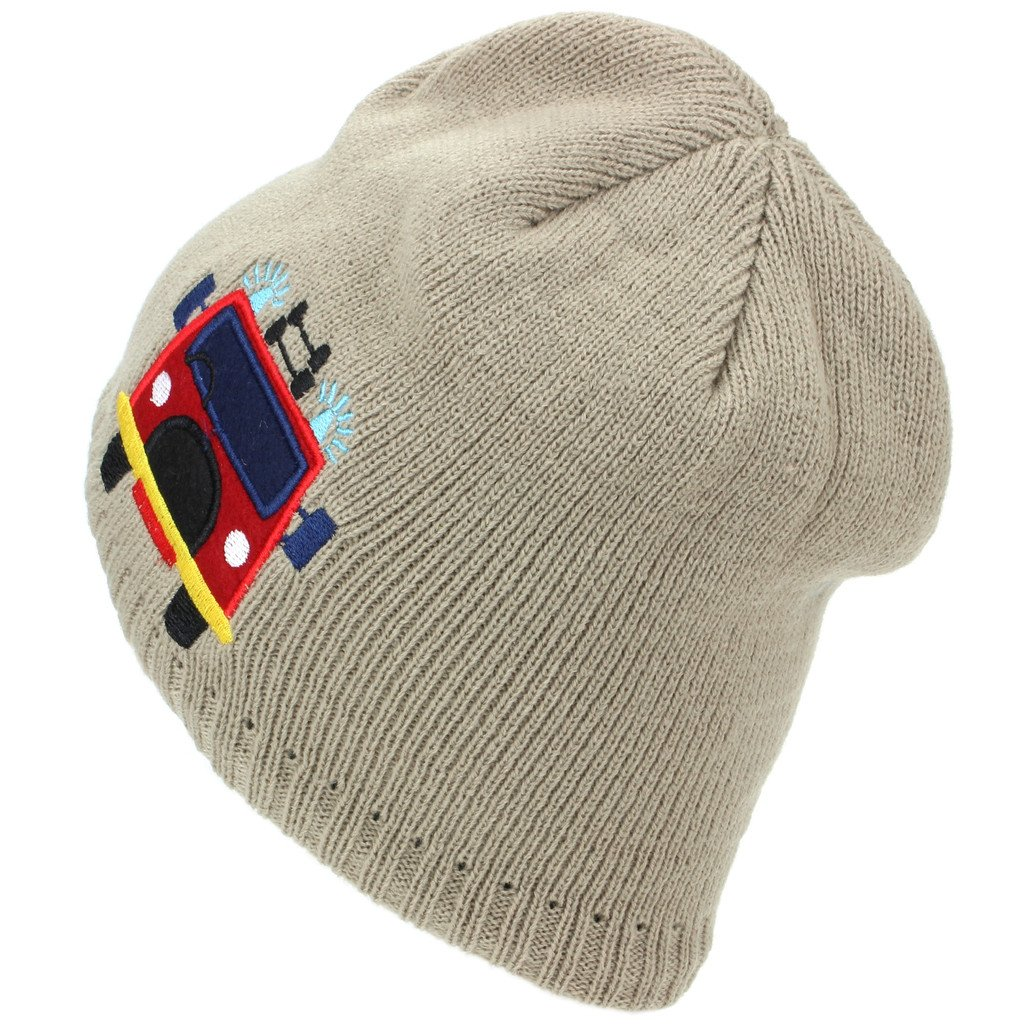 7fbf6842c55 Hawkins Childrens Fine Knit Beanie Hat with Embroidered Fire Engine -  Beige  Amazon.co.uk  Clothing