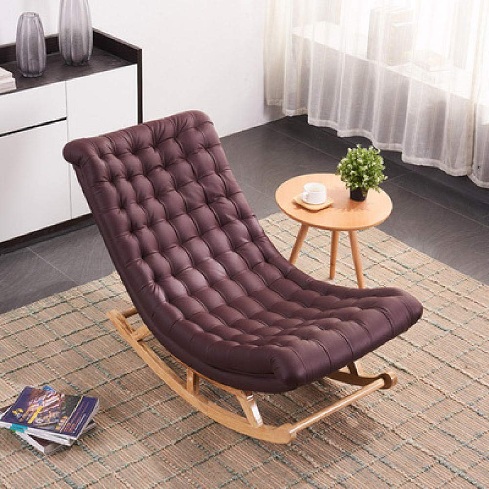 WANGYG Rocking chair Solid wood rocking chair adult old man nap home recliner balcony bedroom living room easy chair black