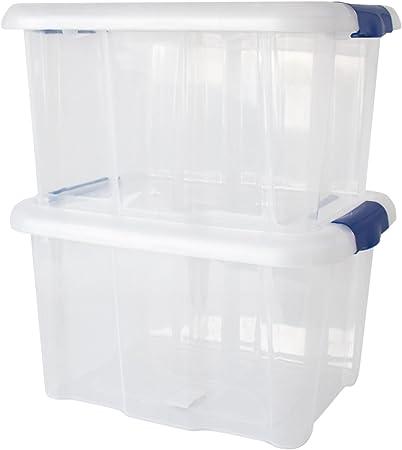 ToCi – Juego de 2 cajas con tapa con cajas de almacenamiento Cajas Caja de plástico transparente 17 litros 40 x 32 x 23 cm: Amazon.es: Hogar