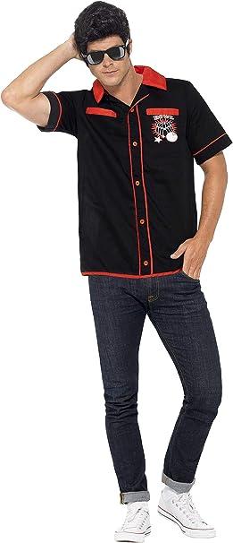 Smiffys-22432M Camisa de Bolos de los 50, con Motivos de Golpe de Suerte, Color Negro, M - Tamaño 38