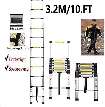Escalera telescópica de aluminio para ahorrar espacio con certificado EN131, 3,2 m: Amazon.es: Bricolaje y herramientas