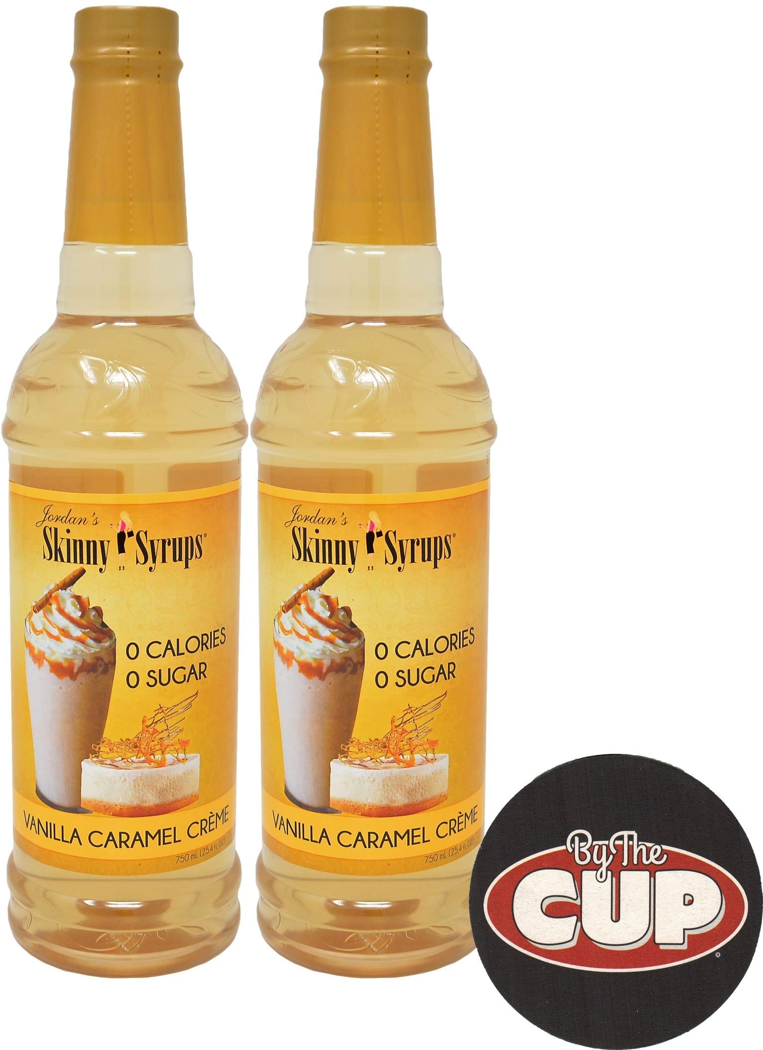 Jordan's Skinny Syrups Sugar Free Vanilla Caramel Creme 750 ml (Pack of 2) with By The Cup Coaster by By The Cup