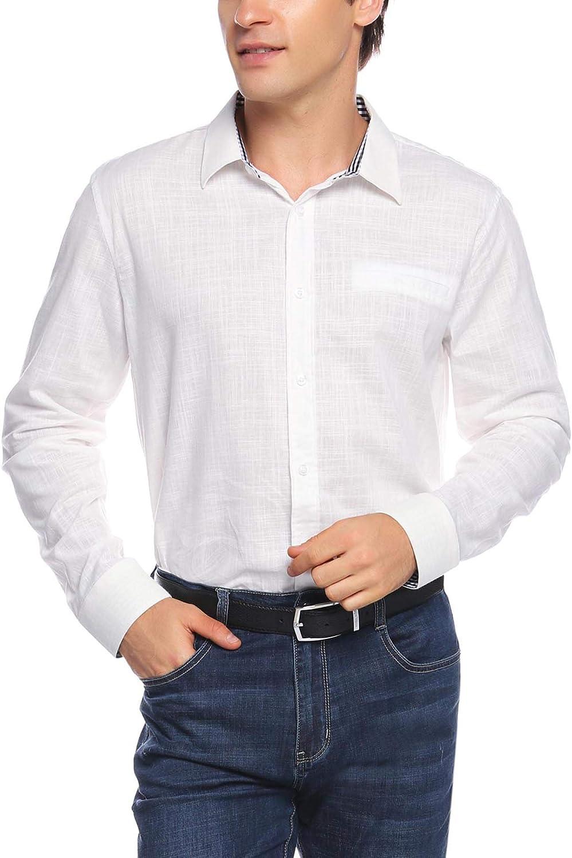 Sykooria Uomo Camicia Manica Lunga Slim Casual Fit Manica Lunga da Uomo Business
