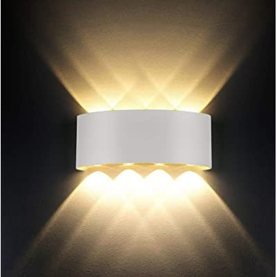 Smithink 8W LED Porch Wall Lights, Modern Waterproof Matte White Wall Lamp, Hallway Wall Sconce Up Down Outdoor Light Fixture for Pathway, Courtyards, Stairs, Living Room, Garage
