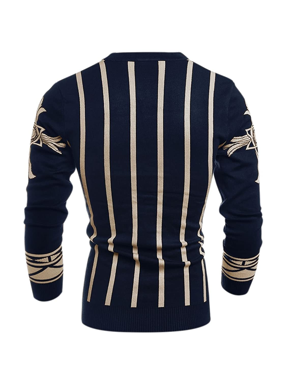 sourcingmap? Men Single Breasted Stripes Novelty Prints Slim Fit Knit Cardigan