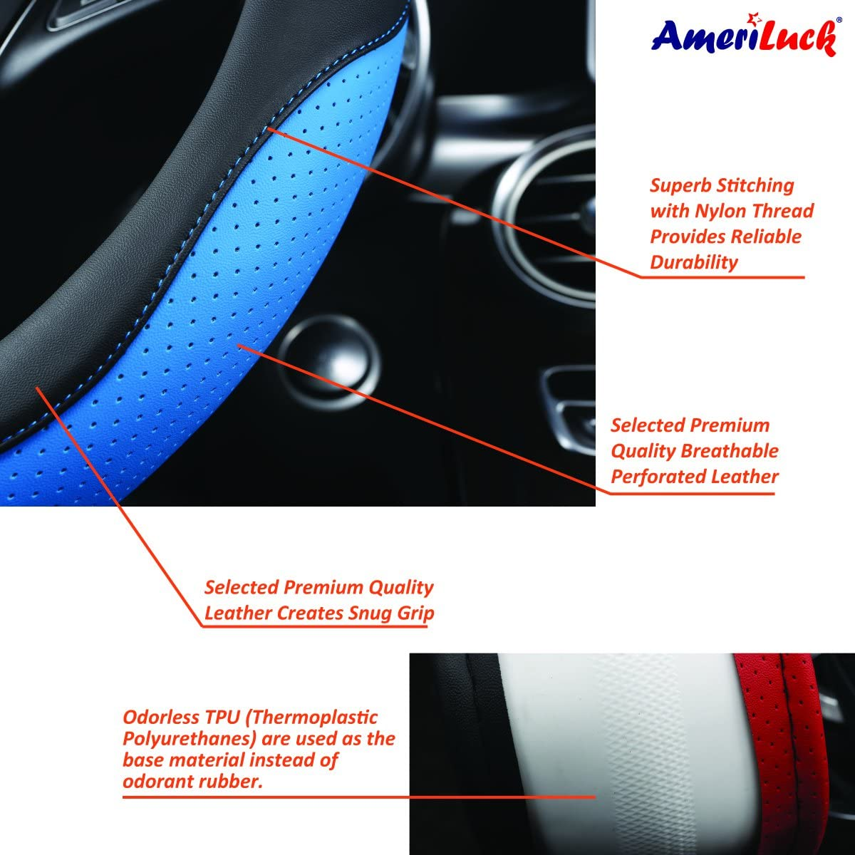 Odorless Soft and Snug Grip Breathable Micro Fiber, Black | Red Stitch Anti-Slip Sporty AmeriLuck Steering Wheel Cover for Car Universal 15 inch