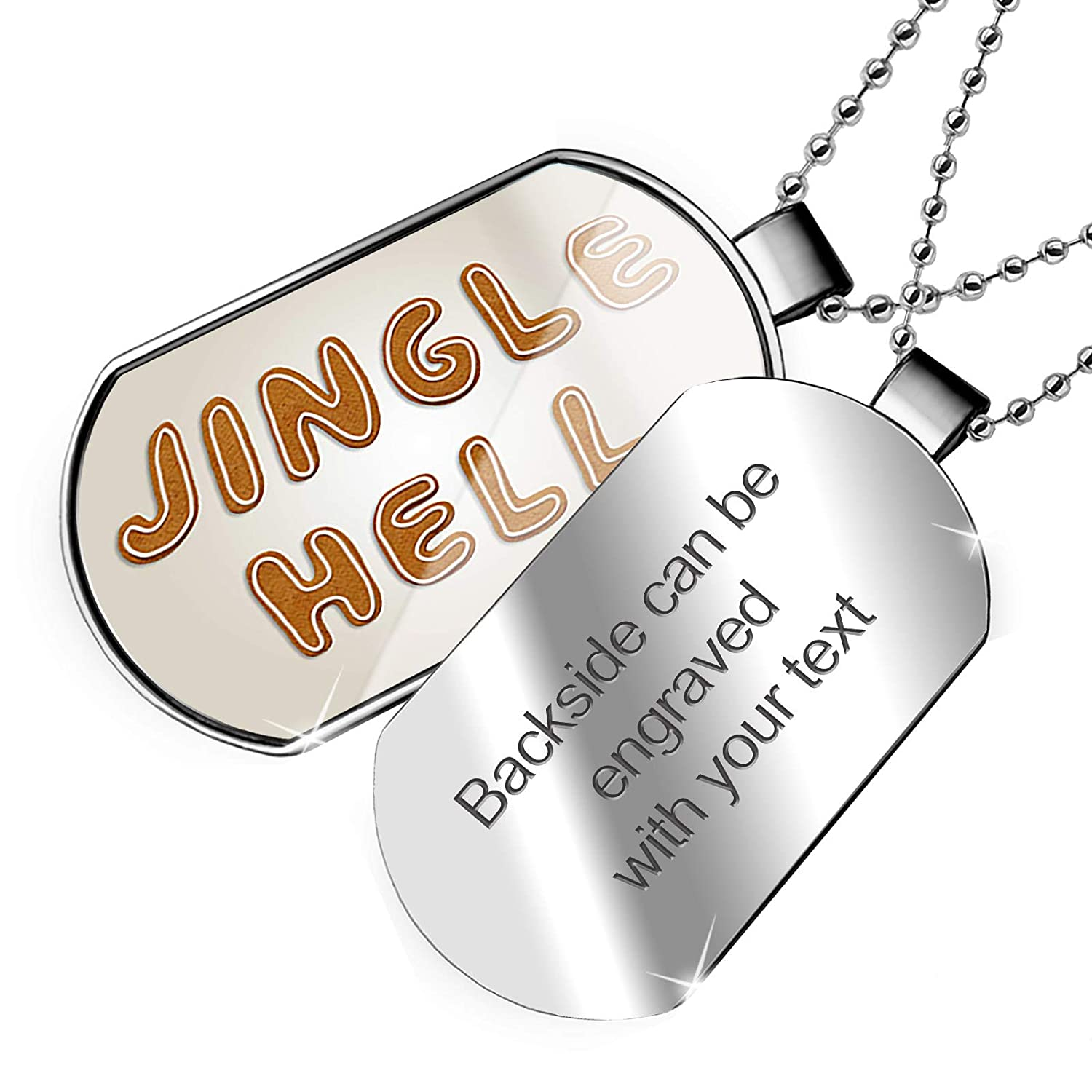 NEONBLOND Personalized Name Engraved Jingle Hell Christmas Gingerbread Cookies Dogtag Necklace
