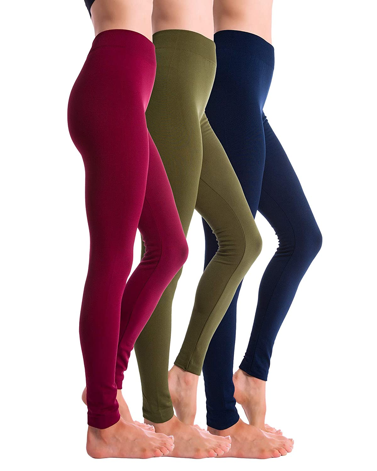 Navy Burgundy Olive Homma 3Pack Fleece Lined Thick Brushed Leggings Thights