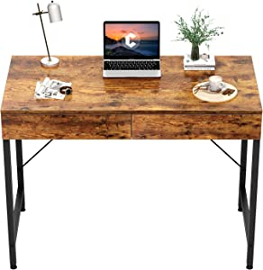 CubiCubi Computer Small Desk, 40 inches with 2 Storage Drawers for Home Office Writing Desk, Makeup Vanity Console Table, Rustic