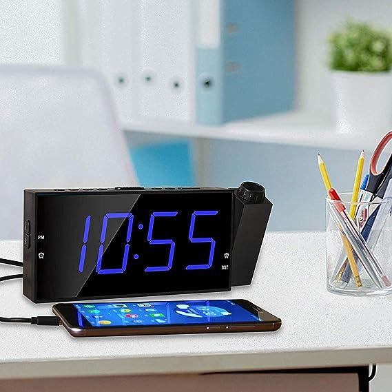 Amazon.com: OnLyee Reloj de proyección de 7 pulgadas, LED ...