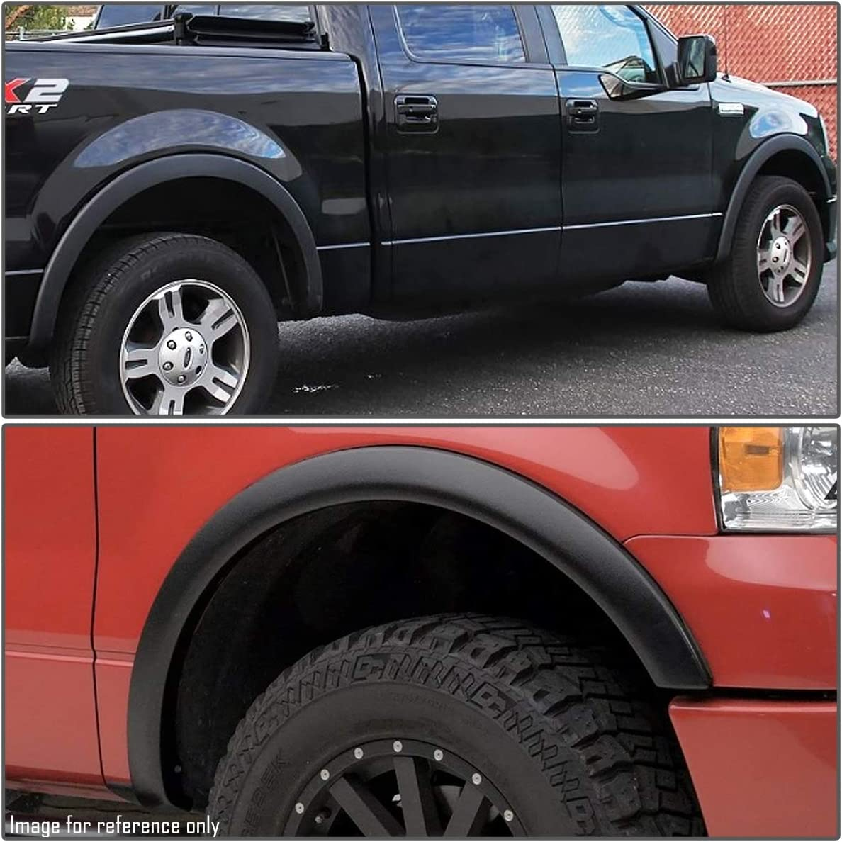DNA MOTORING IF-10019-MBK Factory Style 4Pcs Matte Wheel Fender Flares Protector Replacement